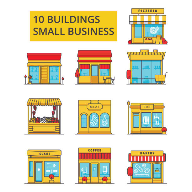 small business buildings illustration, thin line icons, linear flat signs, vector symbols, outline pictograms set, editable strokes - small business stock illustrations