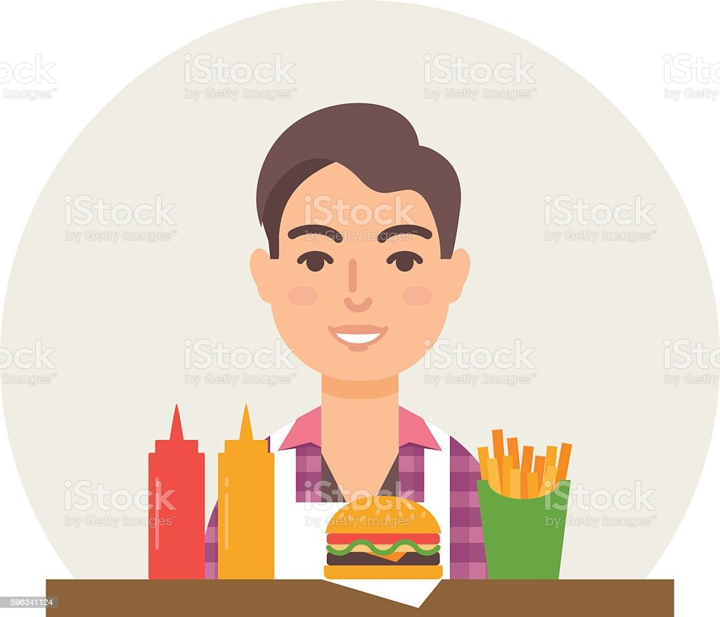 Small business - burger restaurant vector illustration flat style royalty-free small business burger restaurant vector illustration flat style stock vector art & more images of adult