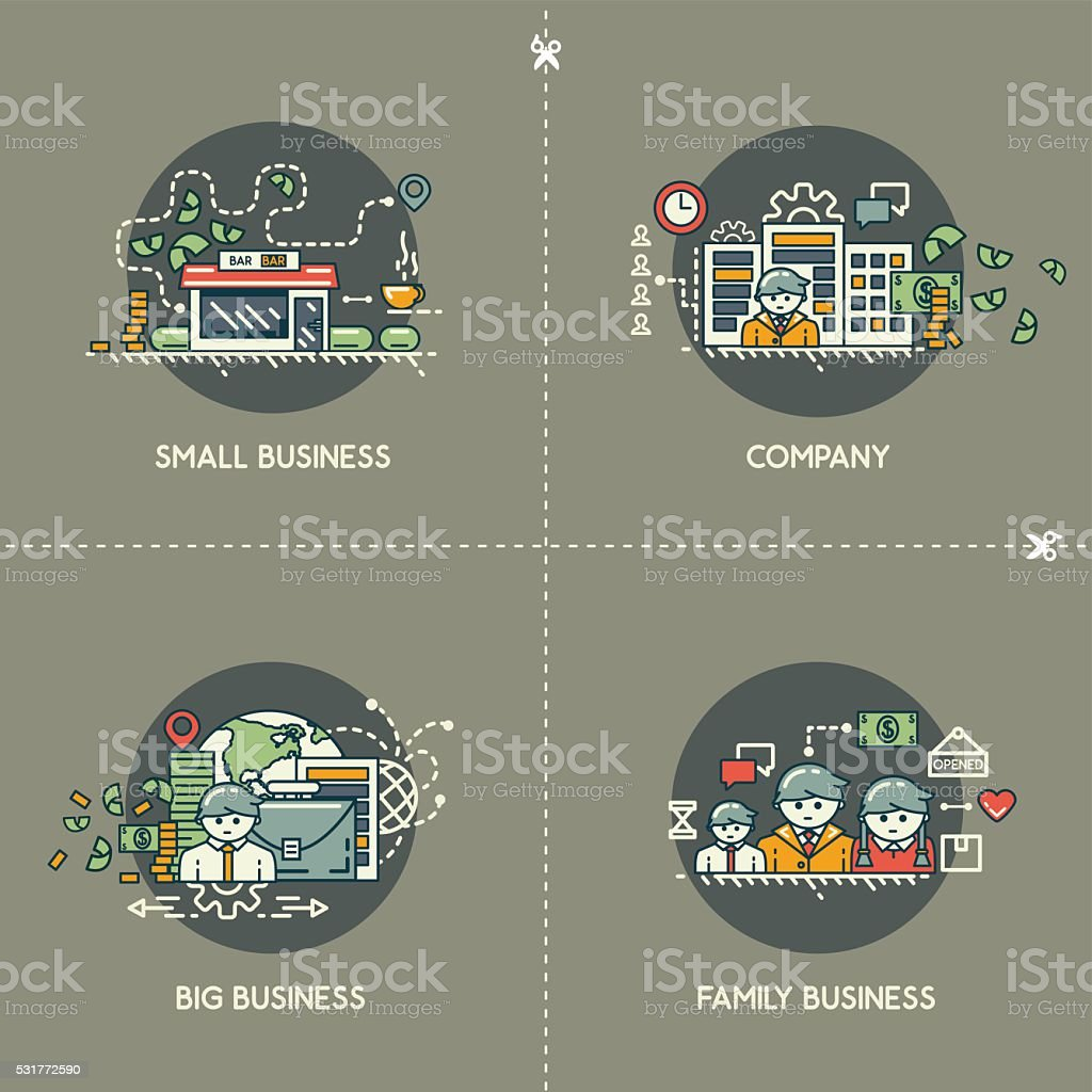 Small business, company, big business, family business vector art illustration