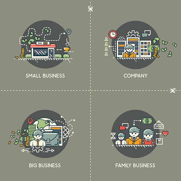 малый бизнес, компания большой бизнес, семейный бизнес - small business stock illustrations