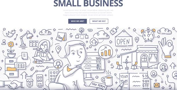 small business doodle concept - small business owner stock illustrations