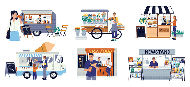 Small business. Flower and ice cream shop, street fast food cafe or coffee bar in auto vans. Cartoon diverse businessmen set. Scenes of people buy hotdogs and pastry, vector entrepreneurs