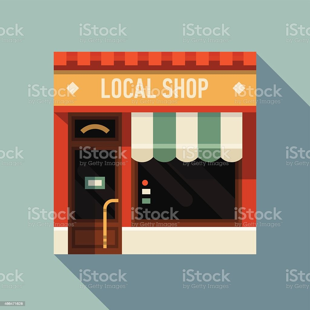 Small business icon with store facade vector art illustration