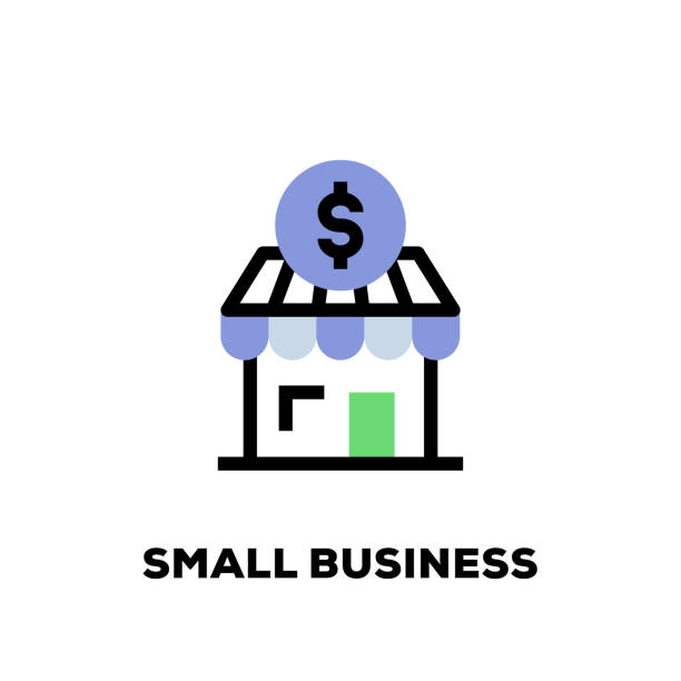 small business line icon - small business owner stock illustrations