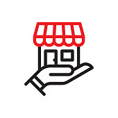 istock Small business line icon 1227417505