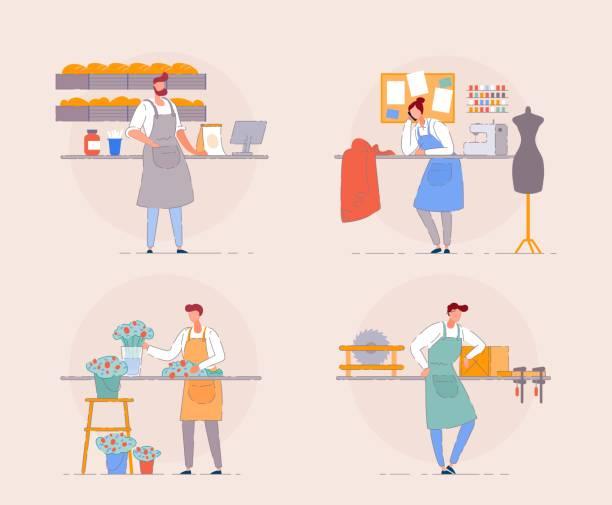 küçük işletme sahibi. çiçekçi, fırıncı, marangoz. - small business stock illustrations
