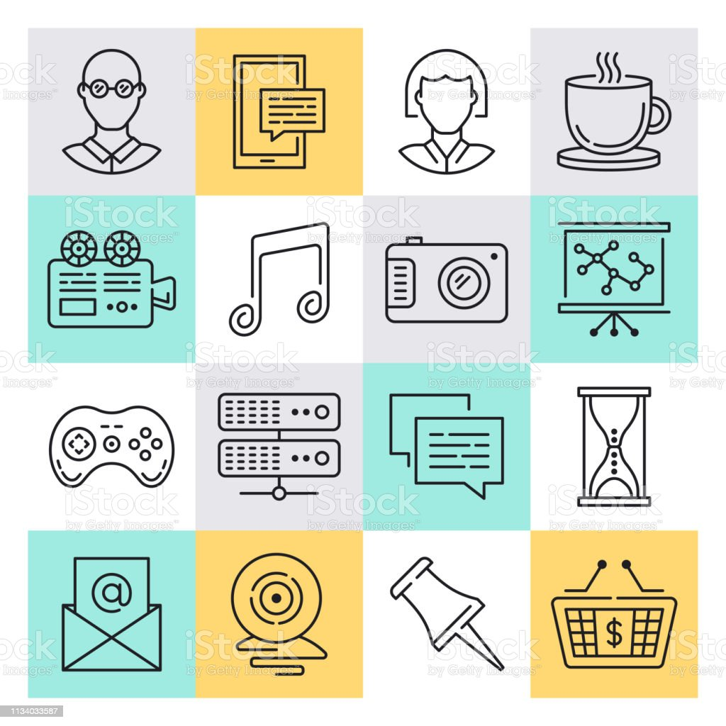 Modern small business performance outline style concept with symbols....