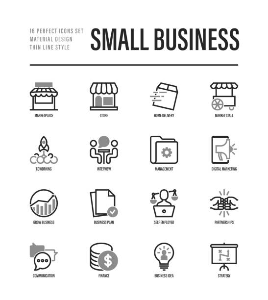 small business thin line icons set. marketplace, market stall, home delivery, job interview, coworking, startup, digital marketing, growth chart, partnership, self employed. vector illustration - small business stock illustrations