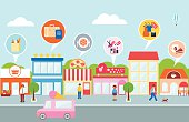 Small business, vector illustration of a town
