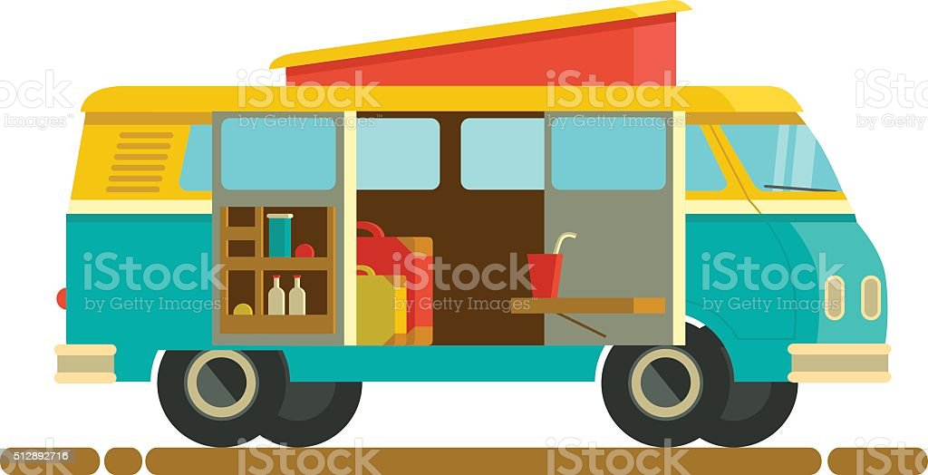 Small Camper Van With Accessories Stock Illustration