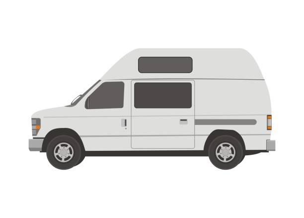 Small campervan. Simple flat illustration simple flat illustration of a campervan. rv interior illustrations stock illustrations