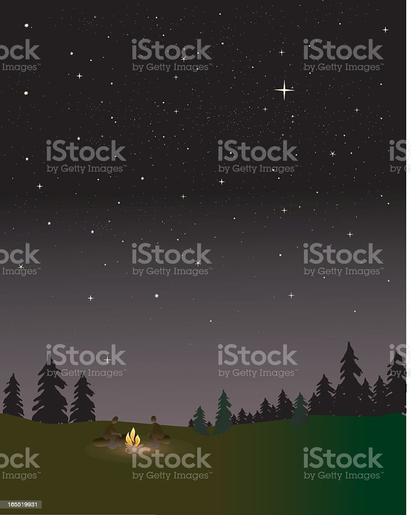 Small campfire glowing against the Black Forest landscape royalty-free small campfire glowing against the black forest landscape stock vector art & more images of campfire