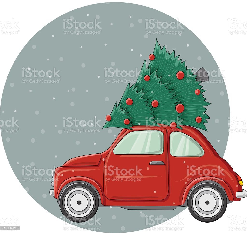 Car With Christmas Tree On Top Decoration  from media.istockphoto.com