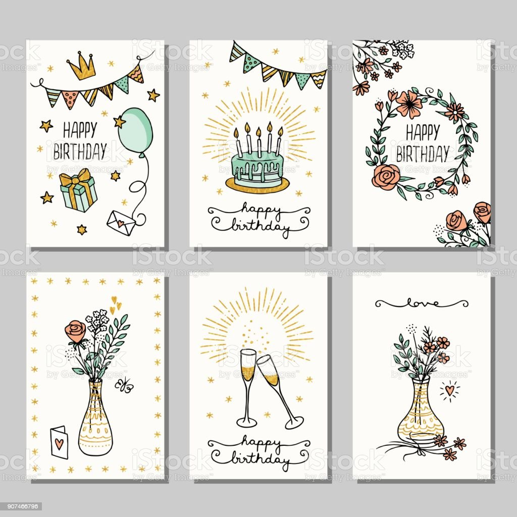 Small cards for birthday greetings vector art illustration