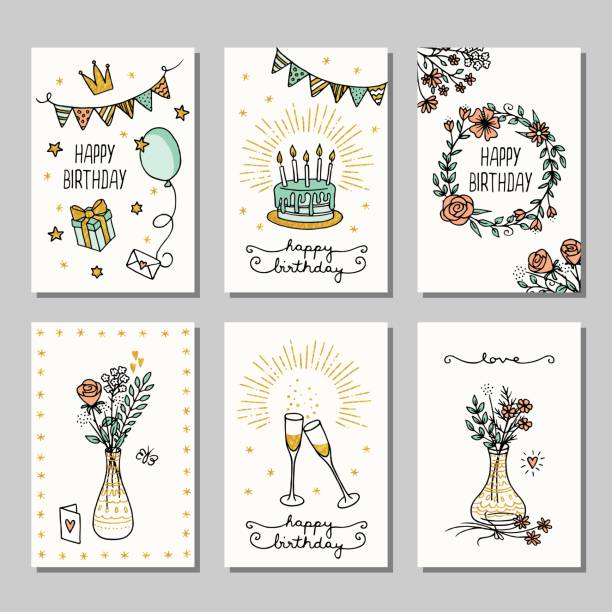 Small cards for birthday greetings Set of six hand drawn birthday mini cards, design template with flowers, champagne glasses and birthday cake cake drawings stock illustrations