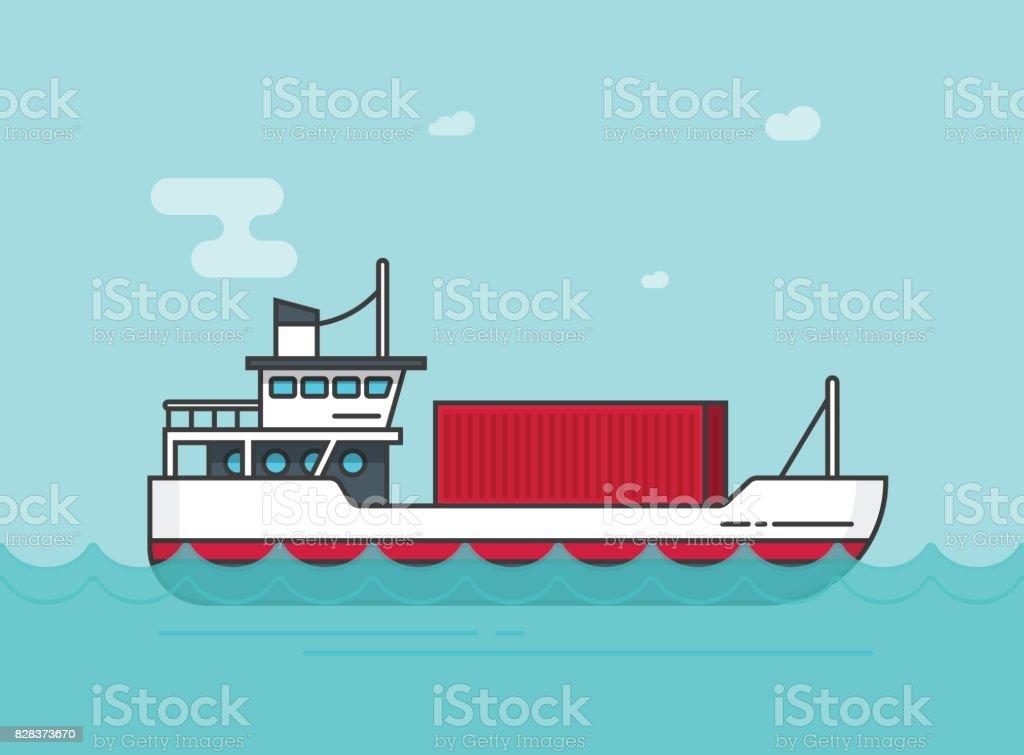 Kleine Ladung Schiff Schwimmt Auf Ozeanvektorillustration Flache ...