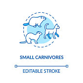 Small carnivores concept icon. Wild and domestic animals, rodents. Food chain predators. Land ecosystem idea thin line illustration. Vector isolated outline RGB color drawing. Editable stroke