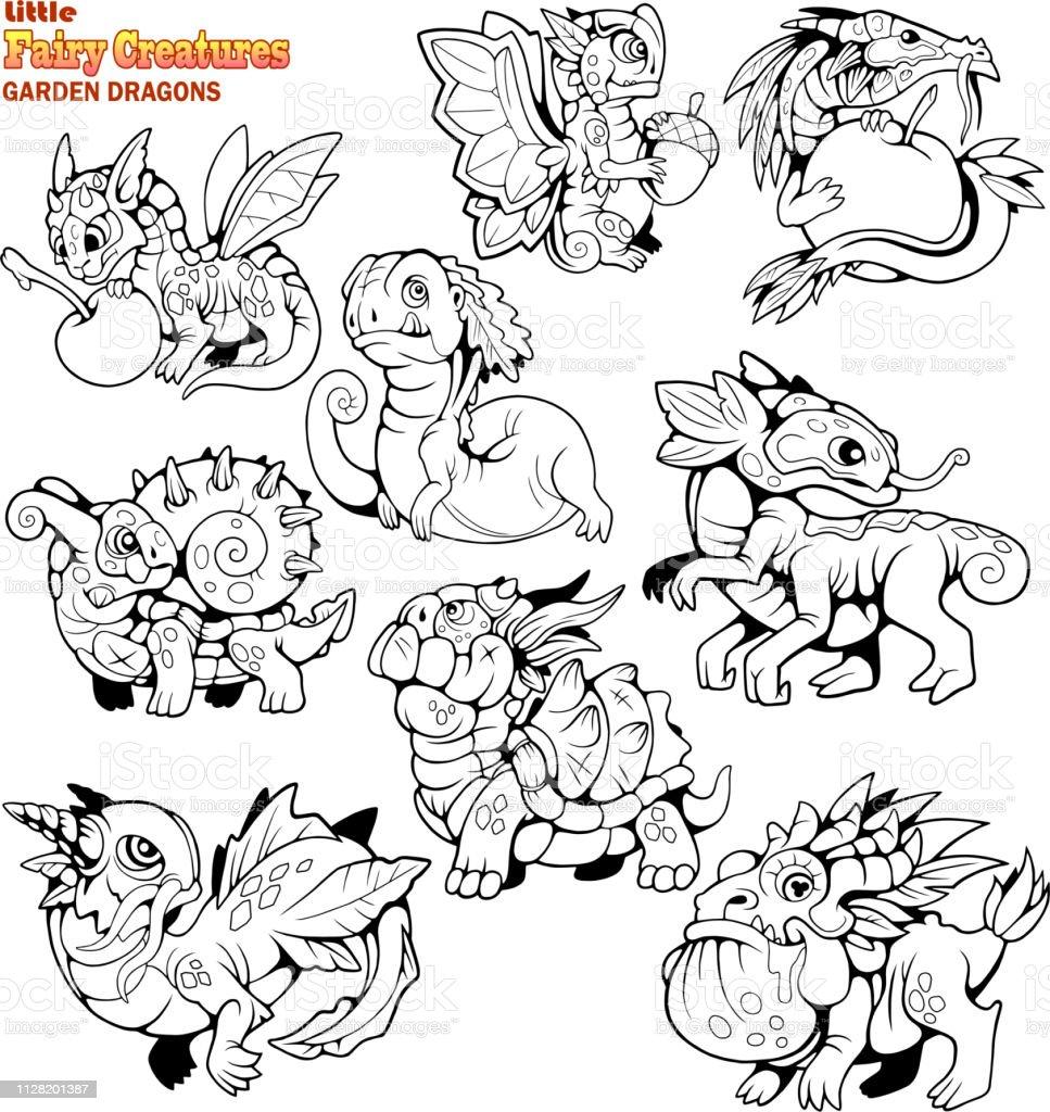 Vetores De Pequenas Desenhos Animados Dragoes De Jardim Colorir