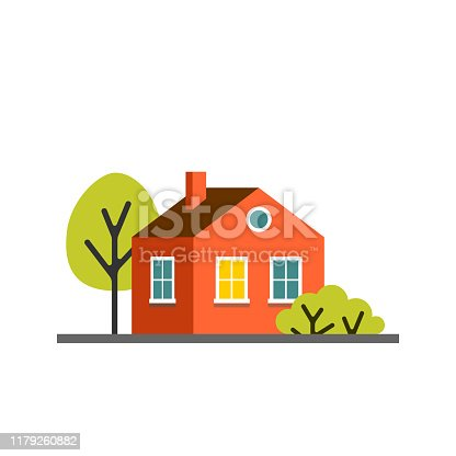 Small cartoon red orange house with trees. Isolated vector illustration. Cute bright children illustration.
