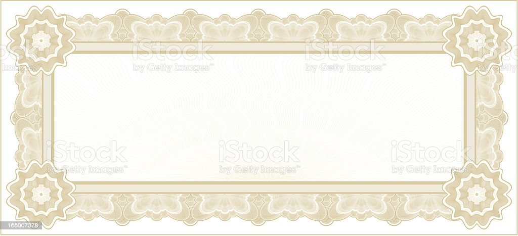 Small Certificate or Coupon (TAN VARIANT) royalty-free stock vector art
