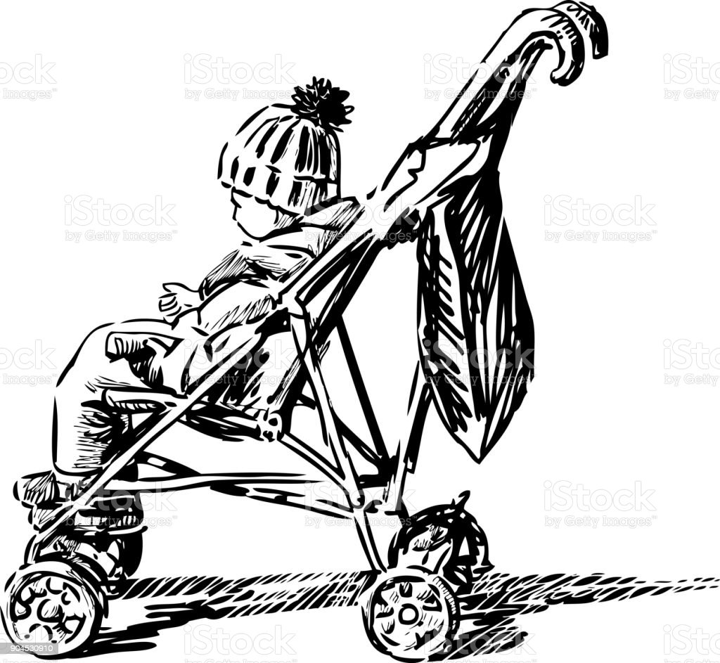 A small child is sitting in his stroller vector art illustration