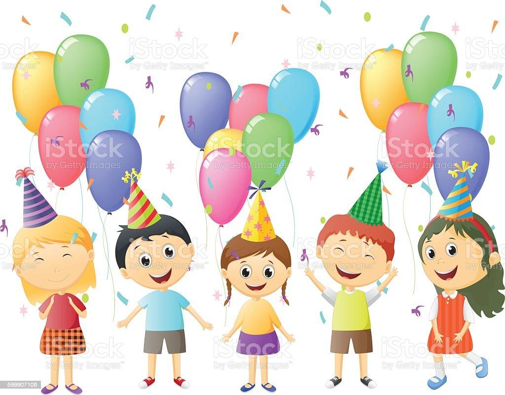 Small Children At Birthday Party Lizenzfreies Stock Vektor Art Und Mehr