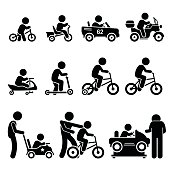Vector set of small young children riding on different types of vehicles that include self-balancing bike, electric toy cars, scooters, and bicycle.