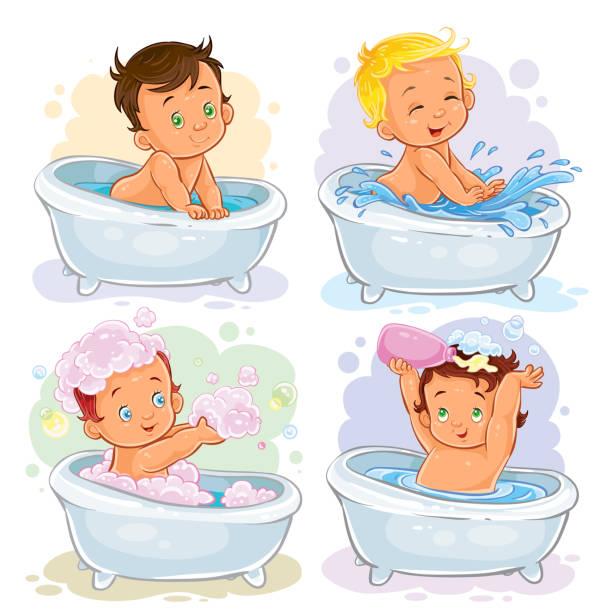 bildbanksillustrationer, clip art samt tecknat material och ikoner med small children take a bath - baby bathtub