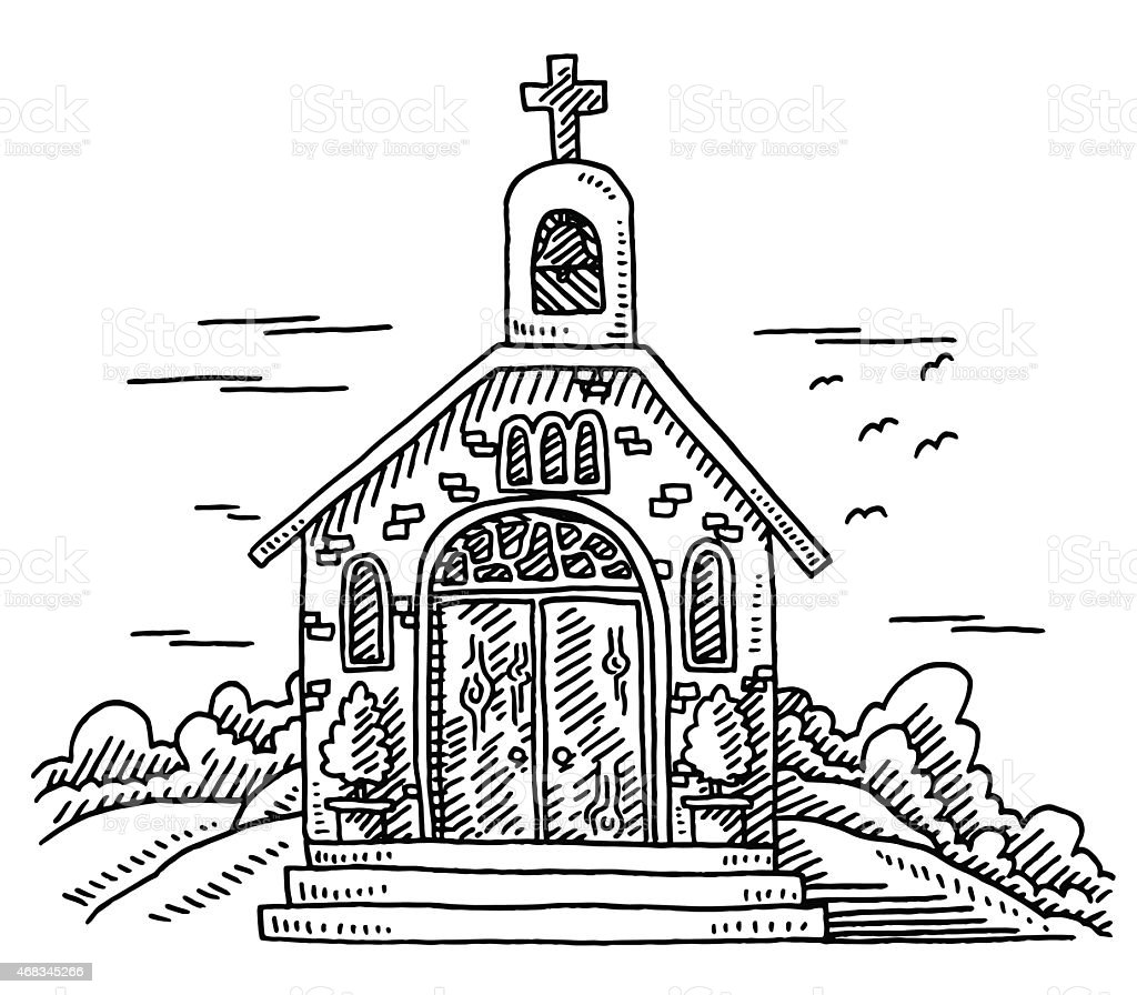 Small christian chapel building drawing royalty free small christian chapel building drawing stock vector art