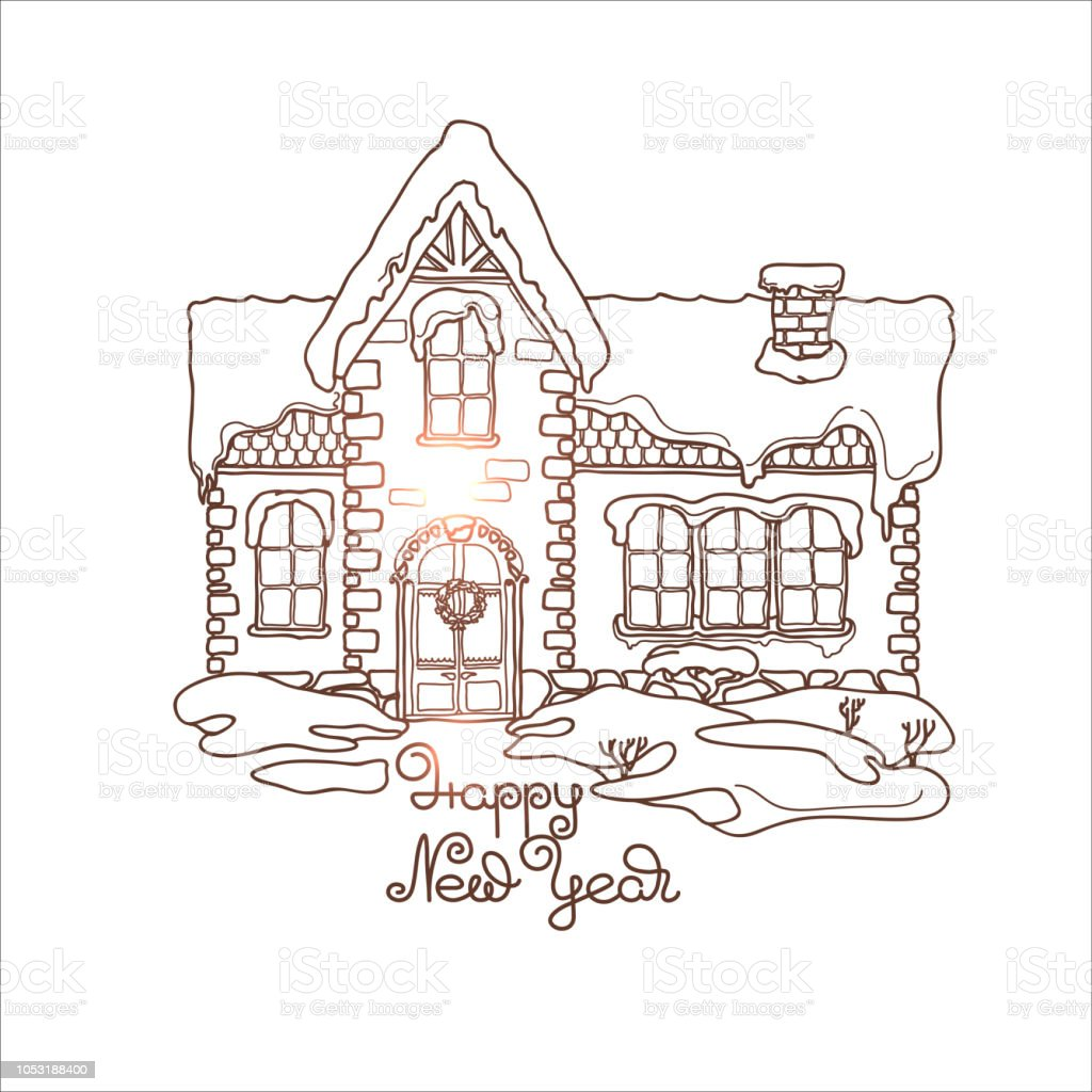 Christmas House Drawing.A Small Christmas House Under The Snow Vector Stock Illustration Download Image Now