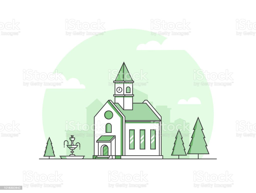 Small Church Modern Thin Line Design Style Vector Illustration Stock