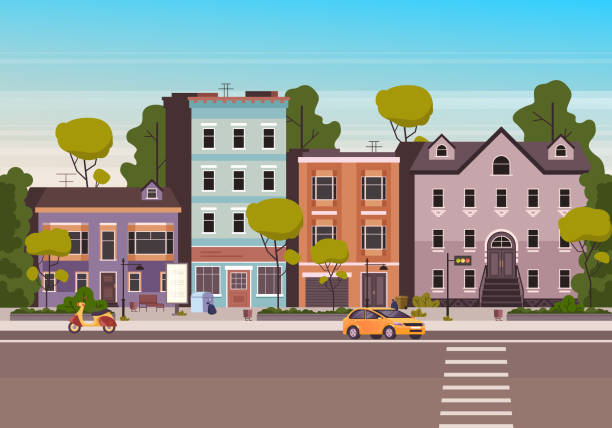 small city town street concept. vector flat graphic design cartoon illustration - деловой центр города stock illustrations