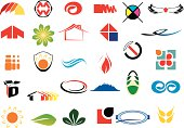 Small clip art logos, set of thirty