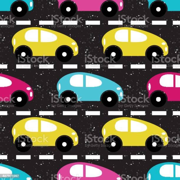 Kleine Gekleurde Autos Op De Weg Mooie Achtergrond Stockvectorkunst En Meer Beelden Van 4x4 Istock