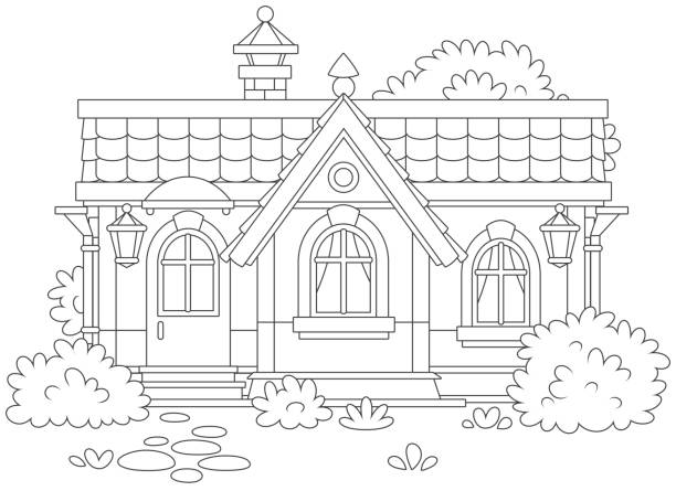 Small cosy village house Vector illustration of a country cottage with bushes, black and white vector illustration in a cartoon style for a coloring book dollhouse stock illustrations