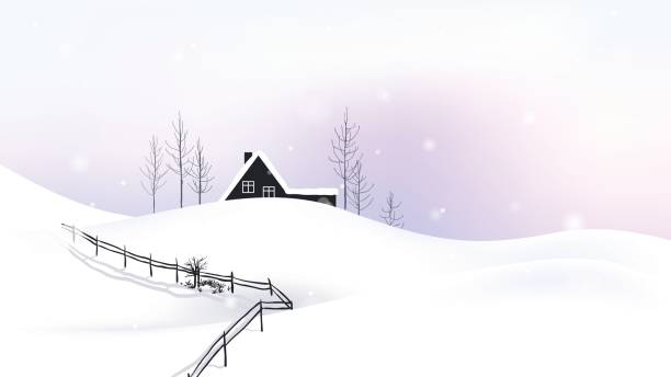 small cottage located on scenic winter - log cabin stock illustrations, clip art, cartoons, & icons