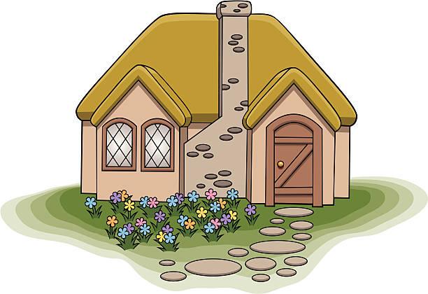 kleine cottage - landhaus stock-grafiken, -clipart, -cartoons und -symbole