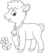 Black and white vector illustration of a cute little yeanling walking