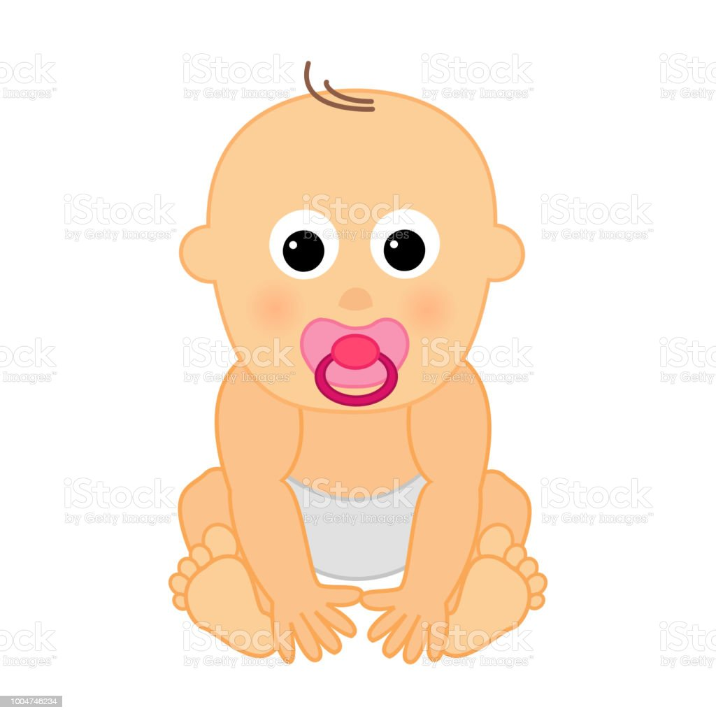 small cute baby with babys dummy stock vector art more images of