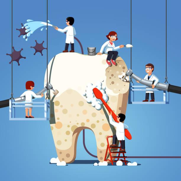 bildbanksillustrationer, clip art samt tecknat material och ikoner med liten tandläkare läkare borstning, rengöring, skalning, borrning plack & karies på stora tand. tandvård arbete koncept. platt stil vektor clipart - emalj