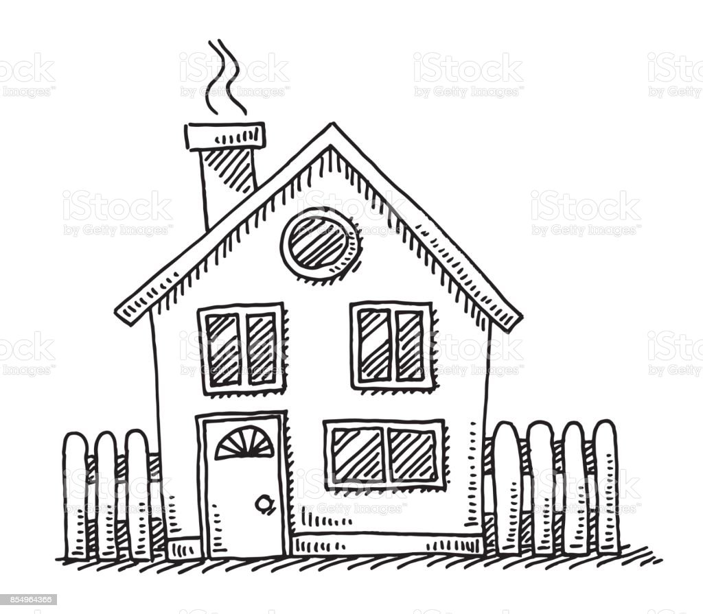 Small Detached House Drawing vector art illustration