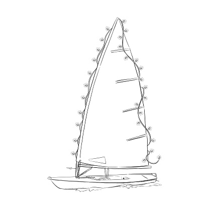 Small Dinghy Sailboat with Christmas Lights. Vector EPS10 Ink Drawing Illustration