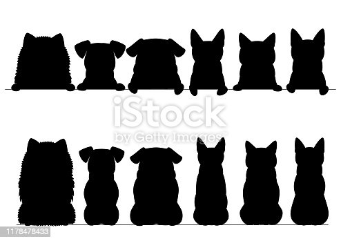 small dogs and cats silhouette border set, upper and full body