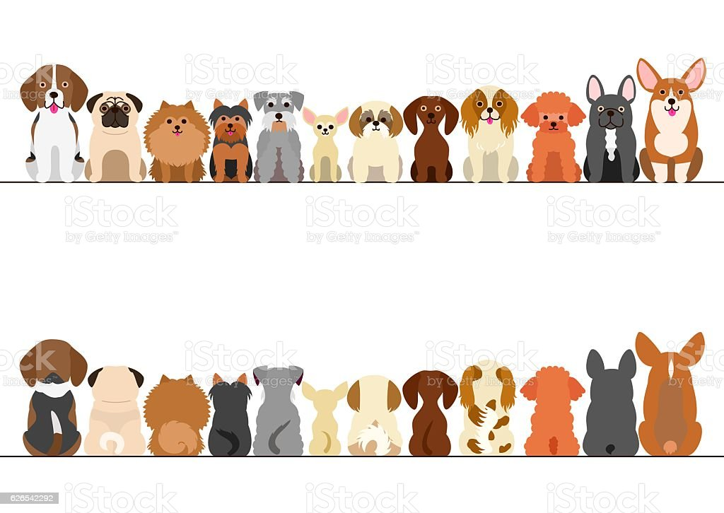 small dogs border set, front view and rear view vector art illustration