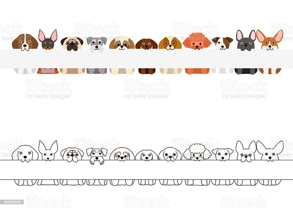 small dogs border set, with long blank board vector art illustration