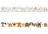set of Small dogs border.