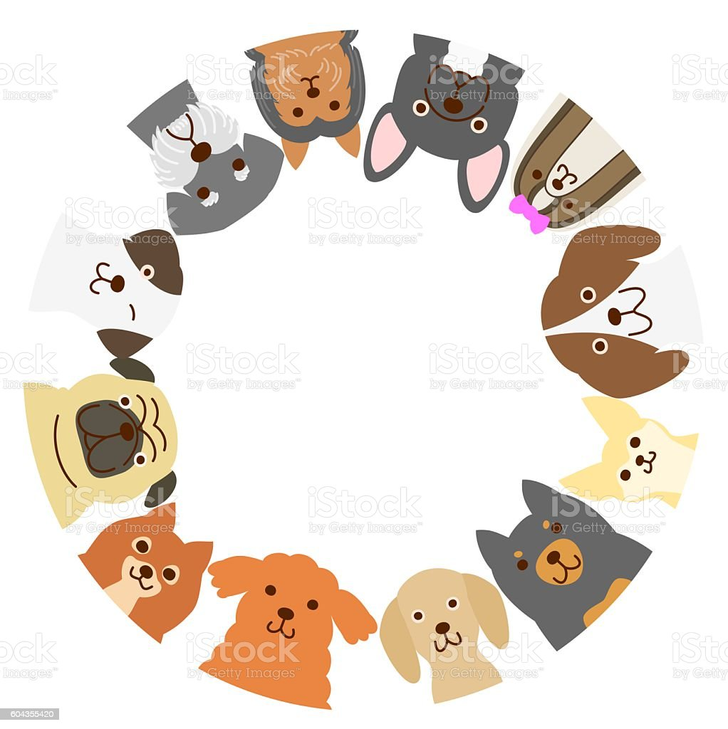 Small dogs circle vector art illustration