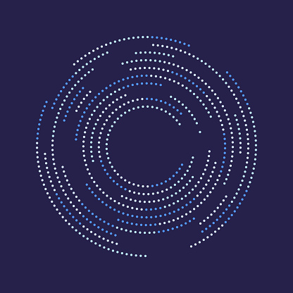 Small squares in spiral shaped matrix. Copy space.
