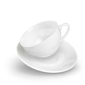 A small empty porcelain white 3D realistic cup and saucer flies in dynamics. Vector illustration isolated on a white background. Cookware for tea or coffee