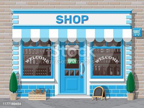 istock Small european style shop exterior. 1177189454
